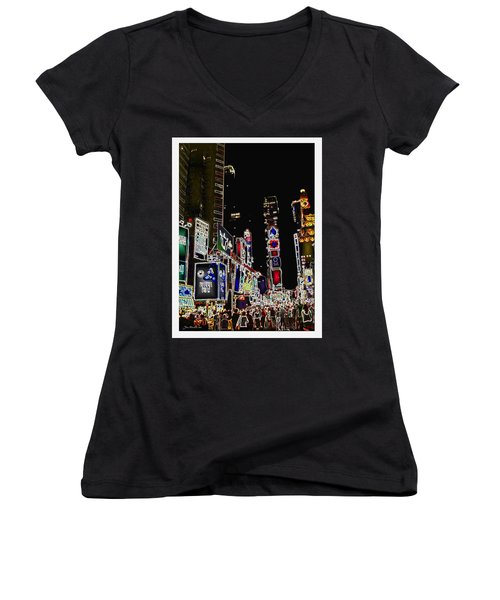 Broadway Women's V-Neck T-Shirt (Junior Cut) by Joan  Minchak