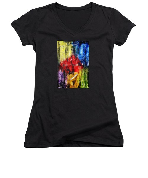 Women's V-Neck T-Shirt (Junior Cut) featuring the painting Broken 4 by Michael Cross