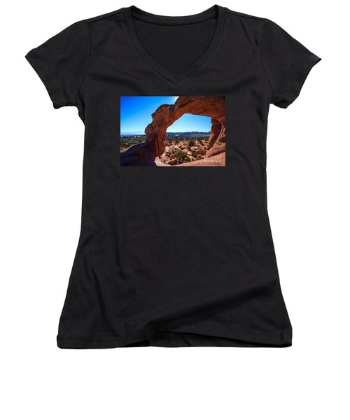 Women's V-Neck T-Shirt (Junior Cut) featuring the photograph Broken Arch Under Blue Sky by Peta Thames