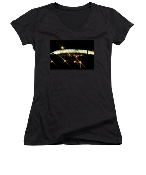 Bronx Night  Iv Yankee Stadium Women's V-Neck T-Shirt (Junior Cut) by Iconic Images Art Gallery David Pucciarelli