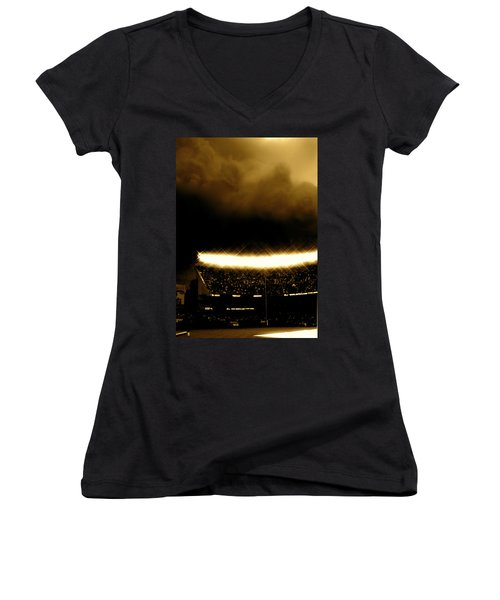 Bronx Storm Yankee Stadium  Women's V-Neck T-Shirt (Junior Cut) by Iconic Images Art Gallery David Pucciarelli