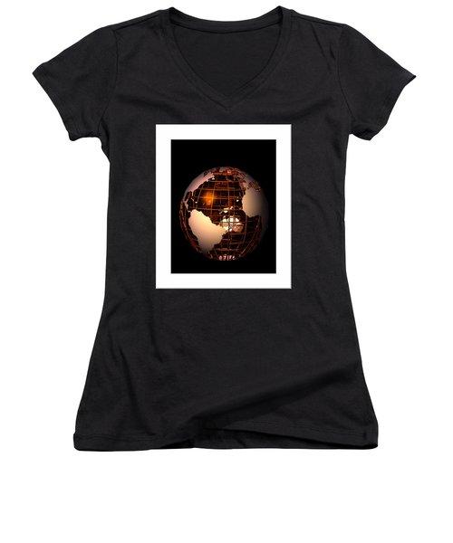 Women's V-Neck T-Shirt (Junior Cut) featuring the digital art Bronze Globe... by Tim Fillingim
