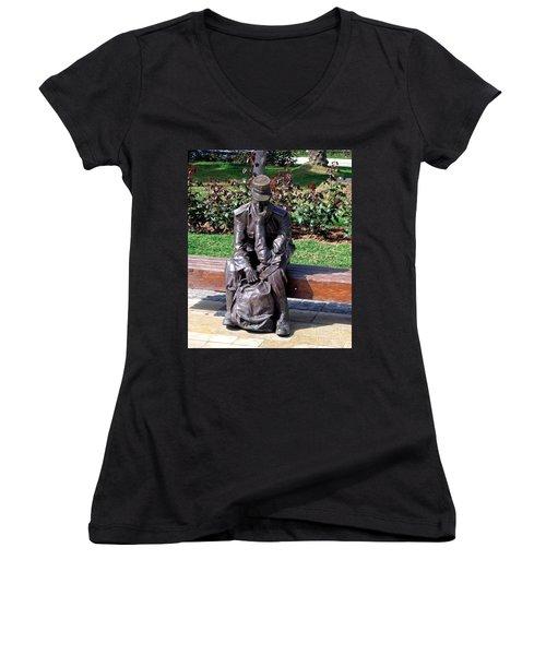 Bronze Mailman Resting Women's V-Neck T-Shirt (Junior Cut) by Jay Milo