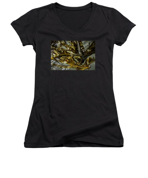 Women's V-Neck featuring the photograph Bronzed Bull Kelp 2 by Roxy Hurtubise