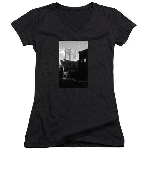 Women's V-Neck T-Shirt (Junior Cut) featuring the photograph Brooklyn Bridge 1970 by John Schneider