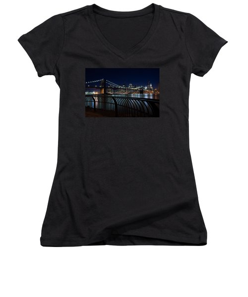 Brooklyn Bridge At Night Women's V-Neck (Athletic Fit)