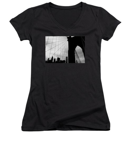 Brooklyn Bridge No.2 Women's V-Neck T-Shirt