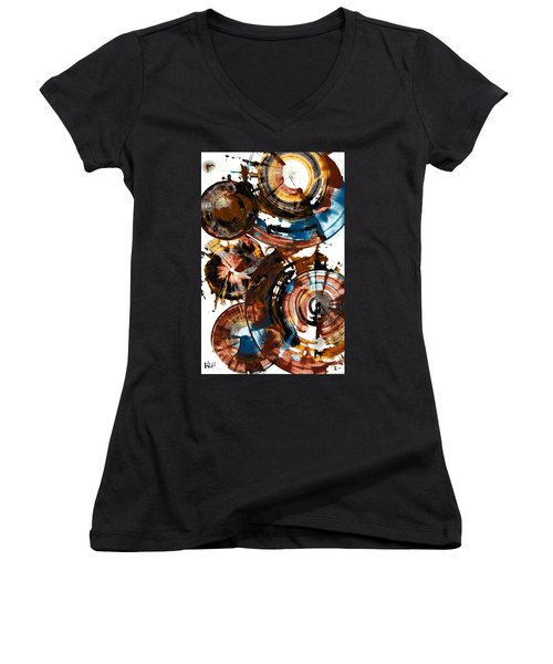 Brown And Blue Spherical Joy - 992.042212 Women's V-Neck T-Shirt (Junior Cut) by Kris Haas
