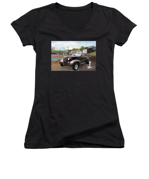 Brown Classic Collector Women's V-Neck T-Shirt (Junior Cut) by Liane Wright