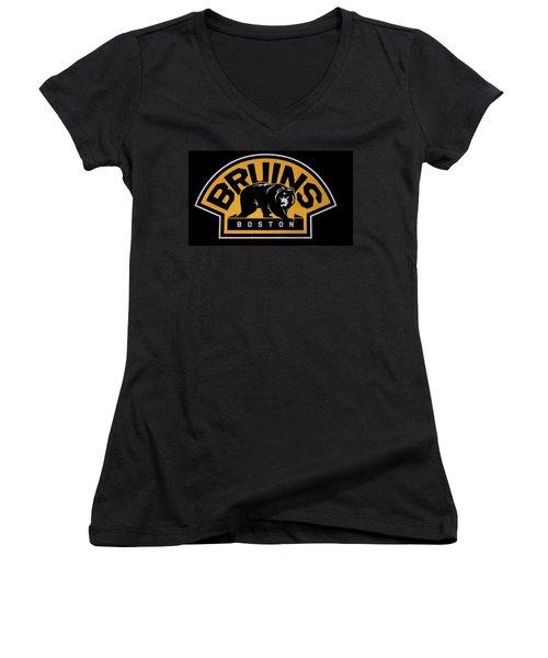 Bruins In Boston Women's V-Neck T-Shirt (Junior Cut) by Caroline Stella