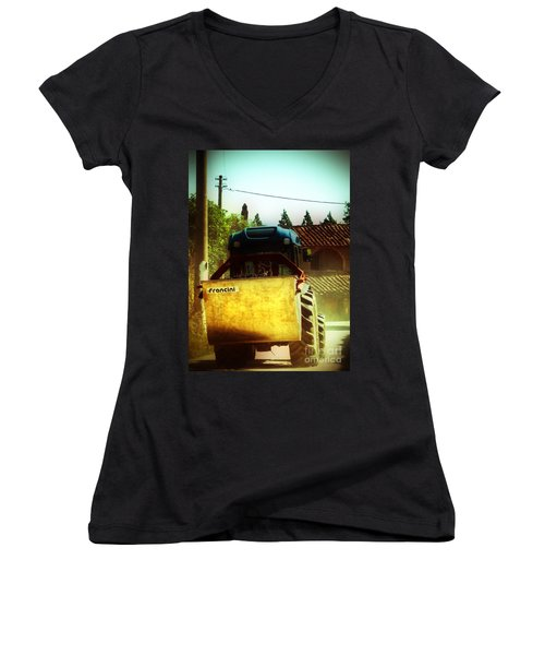 Brunello Taxi Women's V-Neck T-Shirt (Junior Cut) by Angela DeFrias