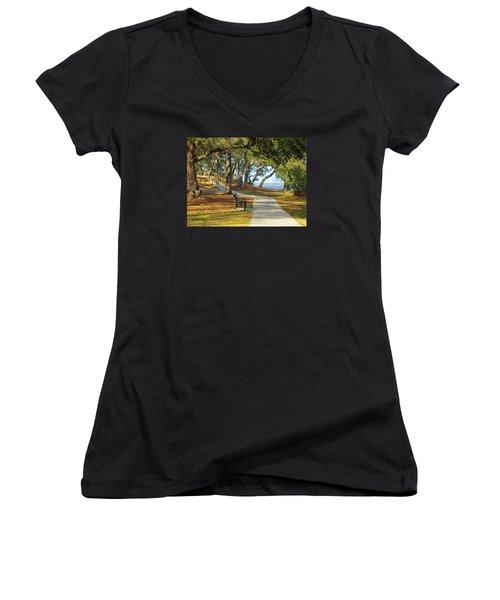 Women's V-Neck T-Shirt (Junior Cut) featuring the photograph Brunswick Town by Cynthia Guinn