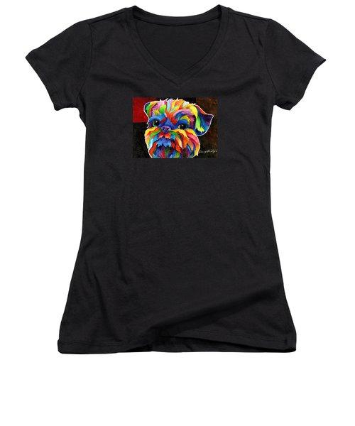 Brussels Griffon Women's V-Neck T-Shirt (Junior Cut) by Sherry Shipley