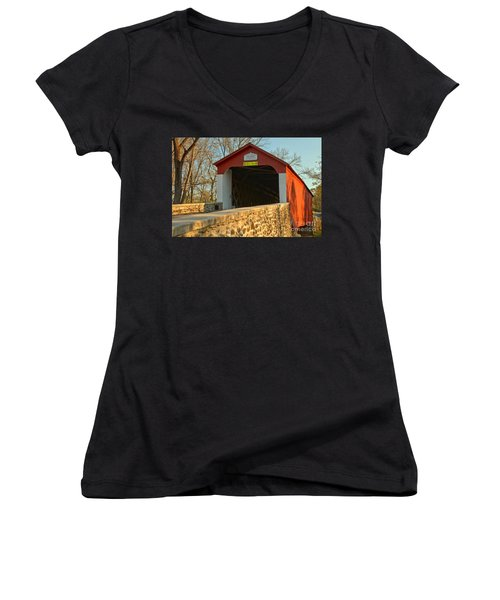 Bucks County Van Sant Covered Bridge Women's V-Neck (Athletic Fit)
