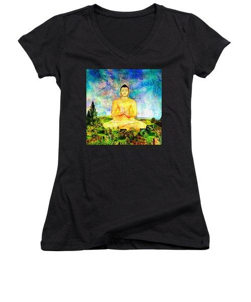 Buddha Women's V-Neck (Athletic Fit)