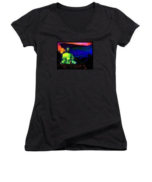 Buddha Women's V-Neck T-Shirt (Junior Cut) by Susanne Still