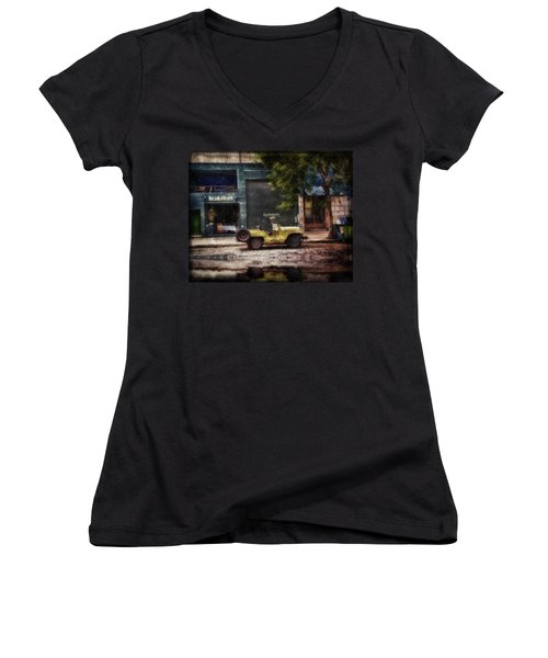 Buenos Aires Jeep Under The Rain Women's V-Neck T-Shirt (Junior Cut) by Diane Dugas