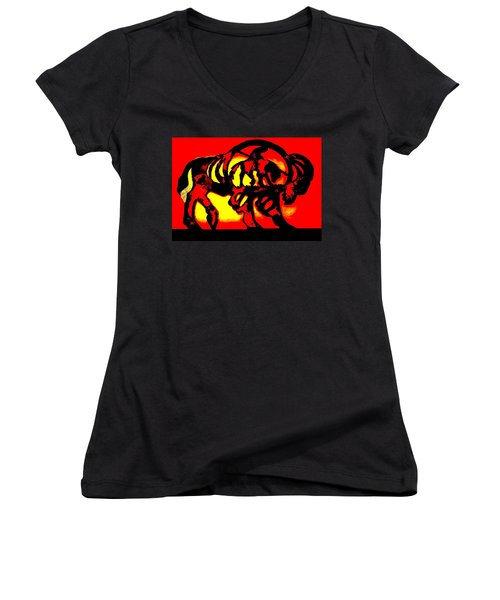 Buffalo Sun Set Women's V-Neck T-Shirt (Junior Cut) by Larry Campbell