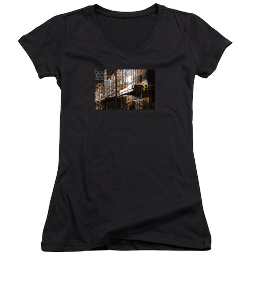 Building With Shimmering Circles Women's V-Neck T-Shirt (Junior Cut) by Don Gradner