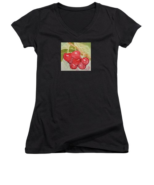 Bunch Of Red Cherries Women's V-Neck T-Shirt (Junior Cut) by Elvira Ingram