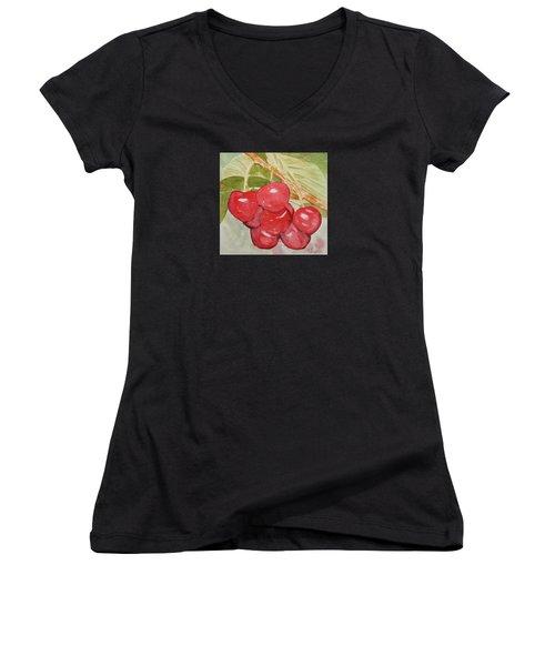 Bunch Of Red Cherries Women's V-Neck T-Shirt
