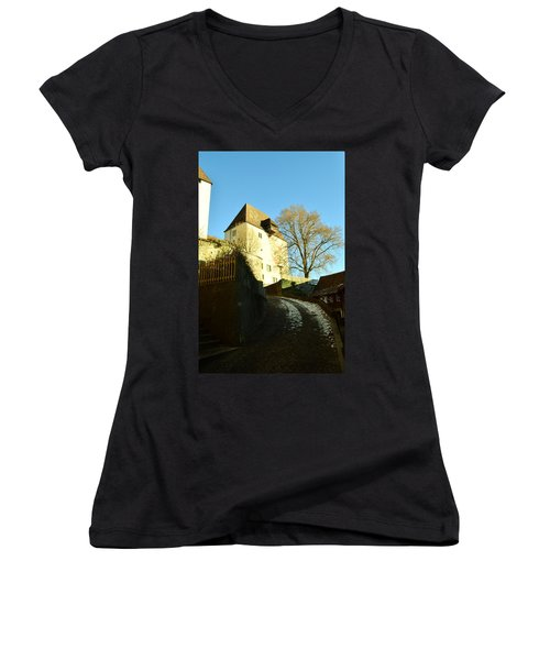 Women's V-Neck T-Shirt (Junior Cut) featuring the photograph Burgdorf Castle In December by Felicia Tica