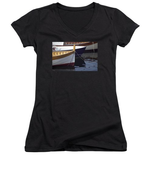 Burgundy Boat Women's V-Neck (Athletic Fit)