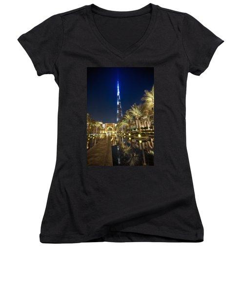 Women's V-Neck T-Shirt (Junior Cut) featuring the photograph Burj Khalifa Swoard by John Swartz