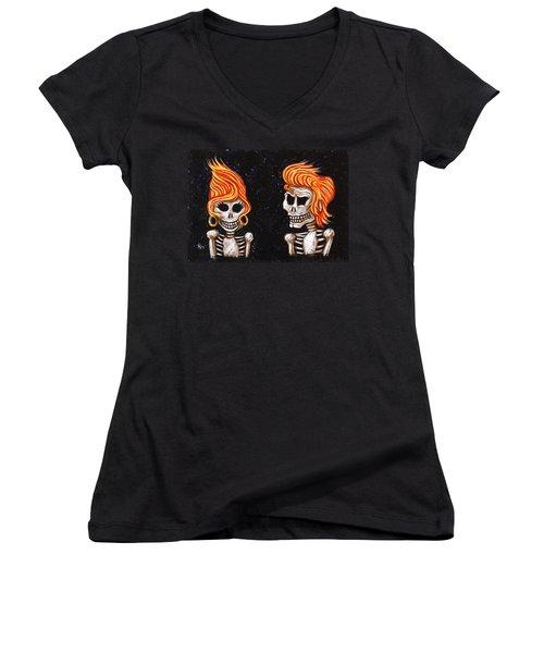 Burnin' Love 4 Ever Women's V-Neck T-Shirt (Junior Cut) by Holly Wood