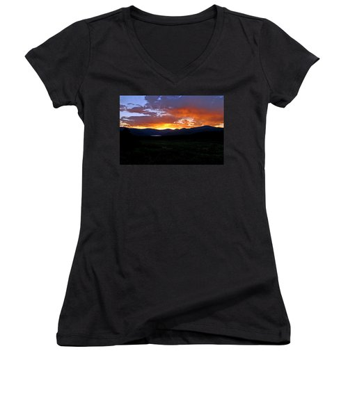 Women's V-Neck T-Shirt (Junior Cut) featuring the photograph Burning Of Uncertainty by Jeremy Rhoades