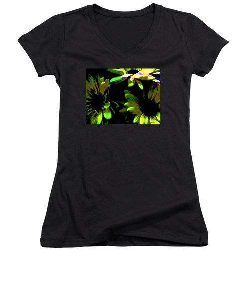 Women's V-Neck T-Shirt (Junior Cut) featuring the photograph Burst by Greg Patzer