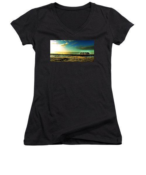 Women's V-Neck T-Shirt (Junior Cut) featuring the photograph Busselton Jetty by Yew Kwang