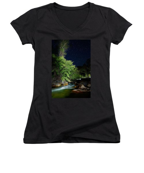 Women's V-Neck T-Shirt (Junior Cut) featuring the photograph Busy Night by David Andersen