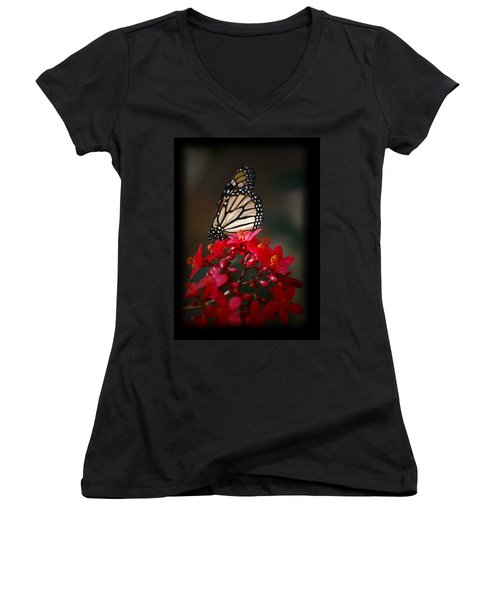 Women's V-Neck T-Shirt (Junior Cut) featuring the photograph Butterfly 6 by Leticia Latocki