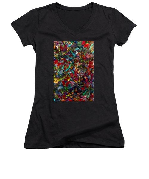 Women's V-Neck T-Shirt (Junior Cut) featuring the photograph Butterfly Collage Red by Robert Meanor
