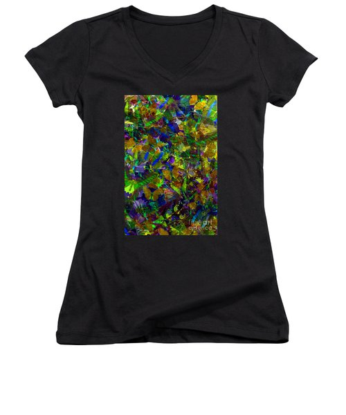 Women's V-Neck T-Shirt (Junior Cut) featuring the photograph Butterfly Collage Yellow by Robert Meanor