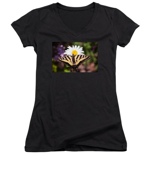 Women's V-Neck featuring the painting Butterfly Kisses by Omaste Witkowski