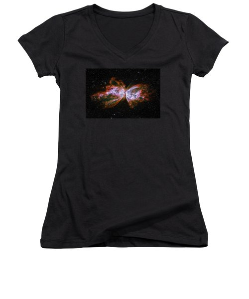 Butterfly Nebula Ngc6302 Women's V-Neck T-Shirt (Junior Cut) by Adam Romanowicz