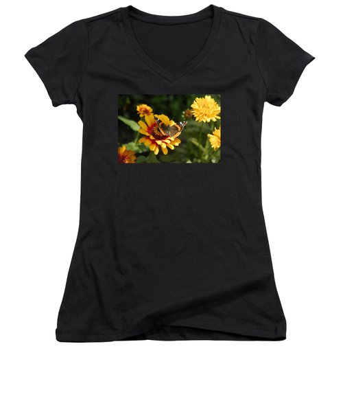 Butterfly On Flower Women's V-Neck T-Shirt (Junior Cut) by Charles Beeler
