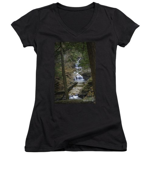 Buttermilk Falls In Autumn IIi Women's V-Neck (Athletic Fit)