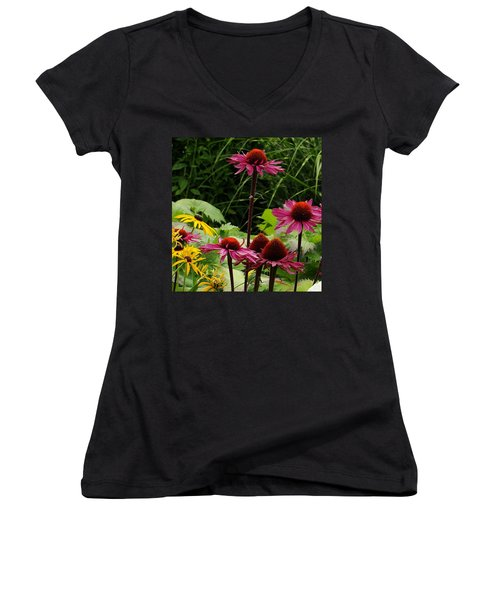 Women's V-Neck T-Shirt (Junior Cut) featuring the photograph Button Up by Natalie Ortiz