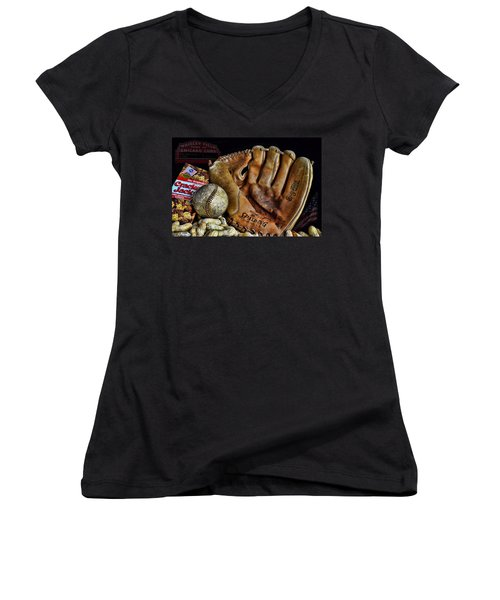 Buy Me Some Peanuts And Cracker Jacks Women's V-Neck T-Shirt (Junior Cut) by Ken Smith