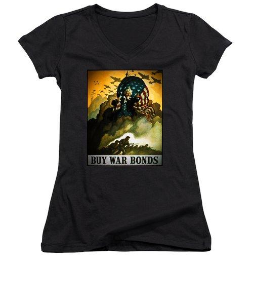 Buy War Bonds Women's V-Neck T-Shirt (Junior Cut) by Robert Geary