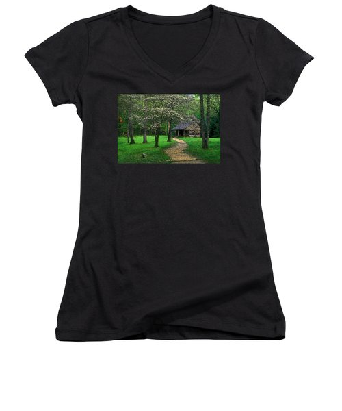 Women's V-Neck T-Shirt (Junior Cut) featuring the photograph Cabin In Cades Cove by Rodney Lee Williams