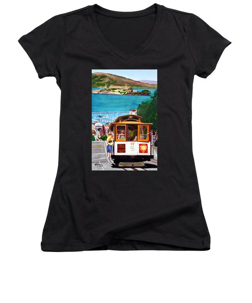 Cable Car No. 17 Women's V-Neck T-Shirt (Junior Cut) by Mike Robles