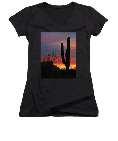 Cactus At Sunset Women's V-Neck T-Shirt (Junior Cut) by Marcia Socolik