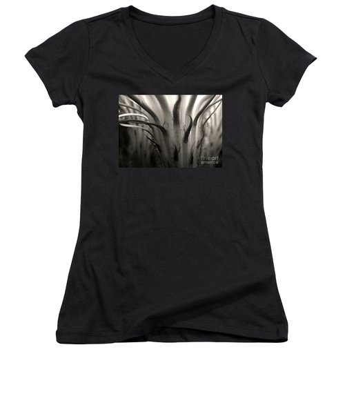 Cactus Bloom In Sepia Women's V-Neck (Athletic Fit)