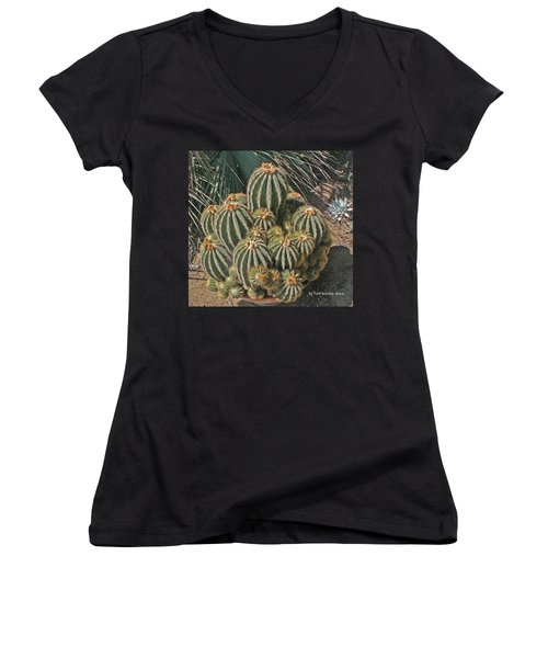 Women's V-Neck T-Shirt (Junior Cut) featuring the photograph Cactus In The Garden by Tom Janca