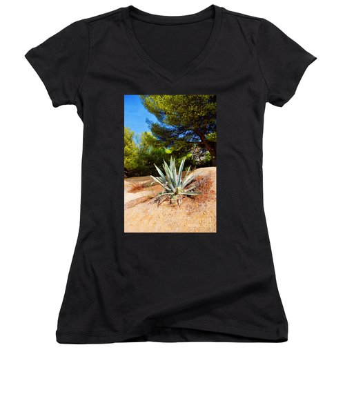 Women's V-Neck T-Shirt (Junior Cut) featuring the photograph Cactus On A Rocky Coast Of French Riviera by Maja Sokolowska