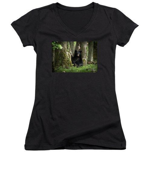 Cades Cove Bear Women's V-Neck T-Shirt